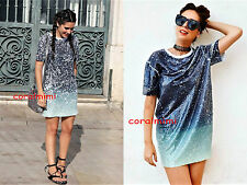 ZARA NEW SEQUIN T SHIRT ombre dress size S