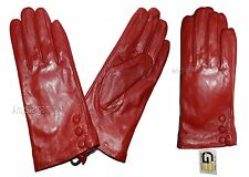 Lot of 2. Women's Leather Gloves (L) Ladies Dress Red warm winter Leather Gloves