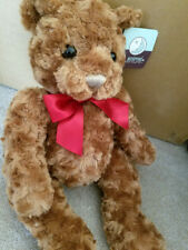 "ANIMAL ADVENTURE Stuffed Brown Teddy Bear Red Bow Soft 19"" Large Plush"