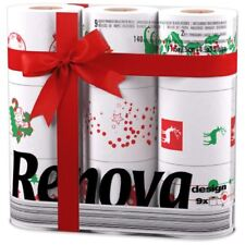 Renova White Print 2 Ply Christmas Xmas Toilet Tissue Paper 9 Rolls