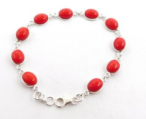 """9.60 Gm Lab-Created Coral Cab Bracelets 925 Solid Sterling Silver 8.50"""" J-647/1"""