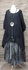 LAGENLOOK LINEN AMAZING OVERSIZE 2 FLOWERS POCKETS QUIRKY TOP***BLACK***Size XXL