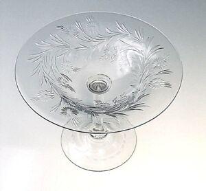 Steuben/Hawkes Engraved Comport  Marguerite Pattern  Shape7376 SIGNED