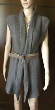 Knitted waistcoat with MISS SIXTY Woman leather strap, brown, size S Gilet Donna