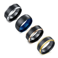 4 colors Men's Wedding Bands 8mm Black Brushed 316L Stainless Steel Party Ring