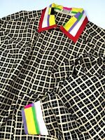 GIANNI VERSACE VINTAGE '91 SILK PRINTED SHIRT MEN COLORFUL COLLAR GRID MONOTONE