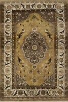 Antique Golden Palm Floral Classic Bakhtiari Area Rug Hand-Knotted Oriental 5x8