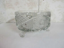 """7 1/2"""" Round x 5"""" Tall Glass Dish Standing on Three Legs Intricate Decorations"""