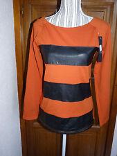 BISOU'S PROJECT Sweat orange faux cuir noir M 38 neuf étiquette T-shirt haut