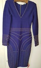 forever unique  blue studded ladies figure hugging dress size 10 with a ful zip