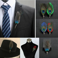 Mens Handmade Peacock Feather Hat Lapel Pin Brooch Groom Formal Accessories