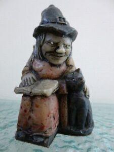 David C Lyons Witch Stroking Cat Figurine Ornament