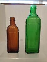 Vintage  -- Set Of 2 -- 1930s Green & Amber Ribbed Medicine Bottles