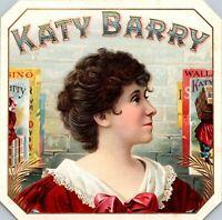 "Vintage Katy Barry Cigar Box Label Theater Actress Portrait Original 4 3/8"""