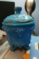 Antique Victorian Blue Opaline Glass Fruit Motif Covered Urn Jar Old Glass