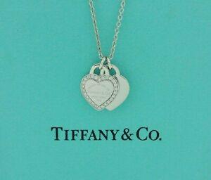 Tiffany & Co. Return Double Heart Tag Diamond 18k White Gold Pendant Necklace