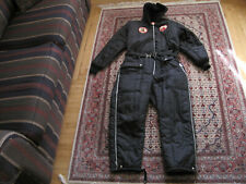 Skidoo Bombardier Black Hooded Nylon Snowmobile Suit w/Old Yamaha Patches Size M