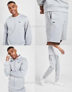 Lacoste Mens Tracksuit Poly Fleece Sweatshirt Hoodie Track Pants Shorts New Grey