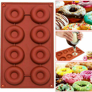 8 CAVITY SILICONE DONUT MOULD CHOCOLATE CANDY MUFFIN CANDY MAKING MOLDS TRAY