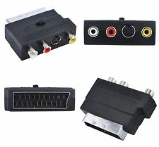 RGB SCART a Composito RCA SVHS S-Video AV Tv Cavo Audio Adapter-UK Venditore