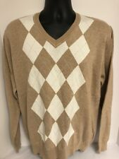 GANT 100% Cotton Argyle V-Neck Pullover Sweater Brown Sz LARGE