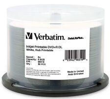 Verbatim DVD+R DL 8.5GB 8X White Inkjet Hub printable 50 pack 98319 DataLifePlus