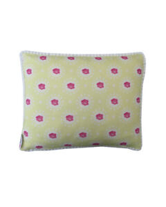 """16"""" Vintage style Yellow Rose White pompom trim scatter cushion covers sham"""