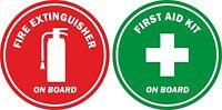 Set 2 Sticker decal car door boat laptop macbook extinguisher first aid board