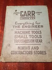 JAMES W CARR AND COMPANY Illustrated Price Sales Catalogue Engineer Machine Tool
