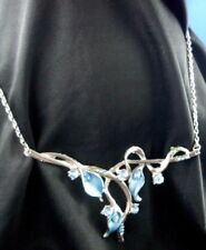 Vintage Style BLUE ENAMEL BLING FLOWERS Fashion Necklace Extender Chain - Aust