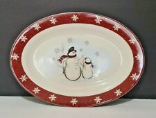 Royal Seasons Stoneware RN1 Snowmen Serving Platter White Red Snowflake Trim 14""