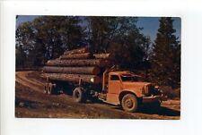 Logging in Northern California, old truck, vintage postcard