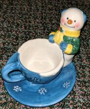 Candle Holder Tealight Porcelain Snowman Never Used no box