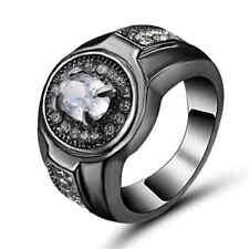 fashion White Topaz Crystal Wedding Ring10KT Black Gold Filled Men/Women's Size6