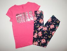 "NWT Gap Girl's 2 Pc Set Pink ""Girls"" T-Shirt/Floral Leggings Large New Free Ship"
