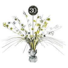 30th anniversaire Spray Pièce maîtresse table décoration noir argent or