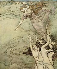 Arthur RACKHAM Fairytale POESIA JOHN MILTON Comus Sirena Mare Stampa montata