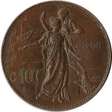 1911 Italy 10 Centesimi Coin KM#51 One Year Type