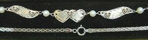 New 14kt White Gold/5 Dia Heart/Winged Anklet-Free Engraving-Free Shipping!