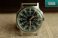 Pobeda ZIM Pilot Green Vintage Soviet Mechanical USSR Wrist Watch qs /Serviced