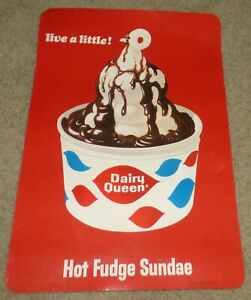 Vintage 1966 Dairy Queen Store POS Advertising Sign Poster - Hot Fudge Sundae