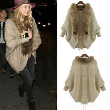 Women Coat Sweater Knit Fur Collar Thicken Shawl Batwing Sleeve Cardigan QT