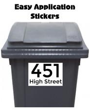 2 Large Custom Wheelie Bin Stickers Street Name Address Number Waterproof Black