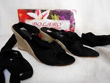 BOLARO BY SUMMER RIO BLACK SANDAL WEDGES WITH RIBBON, SIZE 7, JUST GORGEOUS!