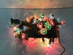 Vintage 40 String Christmas Multi Color Lights Flower Petal Set Clear Reflector