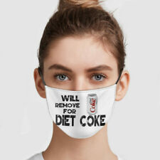 Will Remove For Diet Coke ChristmasFace Mask, Washable Reusable 3D, Three-Layer