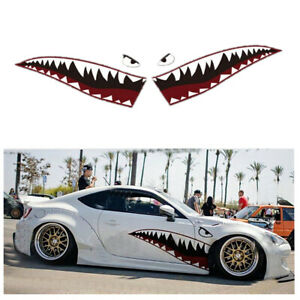 Shark Mouth Teeth Decal Stickers For Car Door Trim Accessories Waterproof 2Pcs