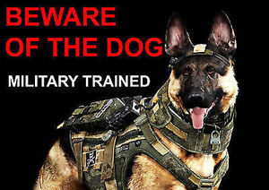 BEWARE OF THE DOG - MILITARY TRAINED - LAMINATED WARNING SIGN POSTER