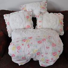 Simply Shabby Chic Queen Comforter Pink Roses Blue Yellow Chenille Trim Pillows
