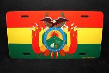 BOLIVIA FLAG METAL NOVELTY LICENSE PLATE TAG FOR CARS  BOLIVIA BANDERA